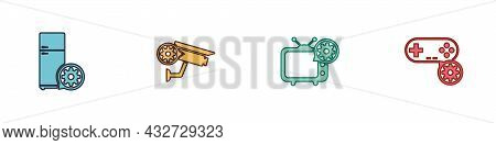 Set Refrigerator Setting, Security Camera, Tv And Gamepad Icon. Vector