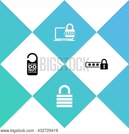 Set Please Do Not Disturb, Lock, Laptop With Password And Password Protection Icon. Vector
