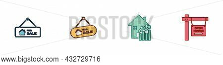 Set Hanging Sign With For Sale, , Rising Cost Of Housing And Open House Icon. Vector