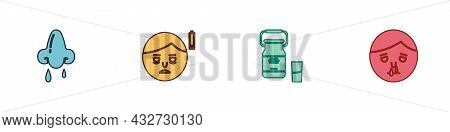 Set Runny Nose, Fatigue, Can Container For Milk And Icon. Vector