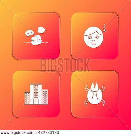 Set Dust, High Human Body Temperature, Medical Hospital Building And Parasite Mite Icon. Vector