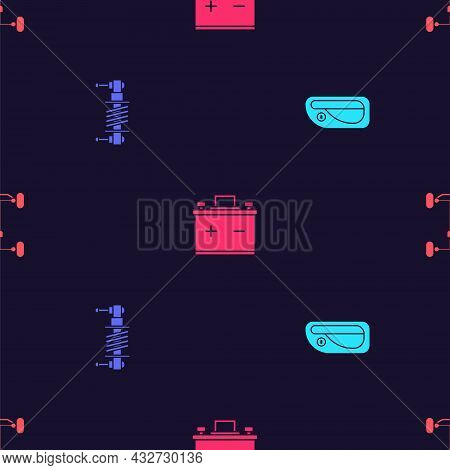 Set Car Door Handle, Shock Absorber, Battery And Chassis Car On Seamless Pattern. Vector