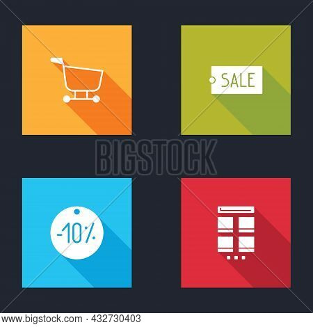Set Shopping Cart, Price Tag With Text Sale, Ten Discount Percent And Online Shopping On Mobile Icon