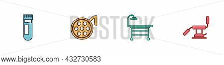 Set Test Tube With Blood, Surgery Lamp, Operating Table And Medical Dental Chair Icon. Vector
