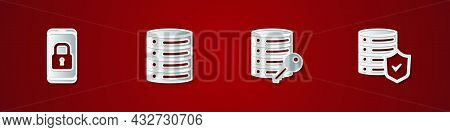 Set Mobile With Closed Padlock, Server, Data, Web Hosting, Security Key And Shield Icon. Vector