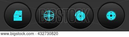 Set Car Door, Alloy Wheel, Brake Disk With Caliper And Gear Icon. Vector