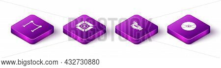Set Isometric Rope Barrier, Movie Spotlight, Cinema Camera And Cd Or Dvd Disk Icon. Vector