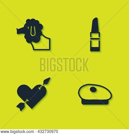 Set Poodle Dog, French Beret, Amour With Heart And Arrow And Lipstick Icon. Vector