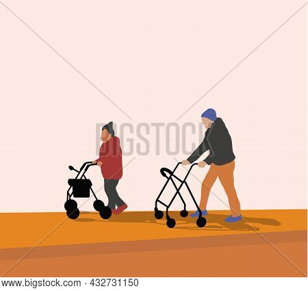 Elderly Senior Age Couple Walking With Paddle Walker. Grandparents Together On Walk On Street. Vecto