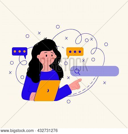 Customer Support Services. Illustration Of A Woman With A Laptop In Search. Support Concepts And Sea
