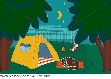 Night Camping With A Tent. The Concept Of A Mobile Home In The Forest With A Campfire With A Dog For
