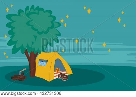 Night Illustration With A Tent In The Forest. The Concept Of A Mobile Home For A Country Holiday. Tr