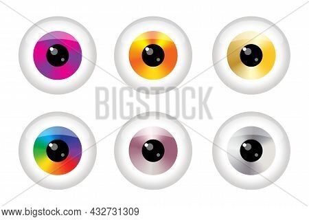 Colorful Eyeball Icon Set. Futuristic Background. Beautiful Design Art Concept. Vector Illustration.