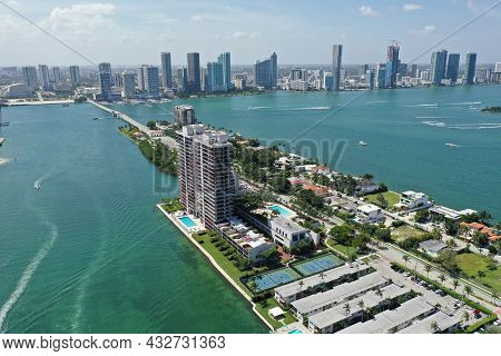 Aerial View Of Biscayne Island, Venetian Causeway And Skyline Of City Of Miami, Florida On Clear Sun