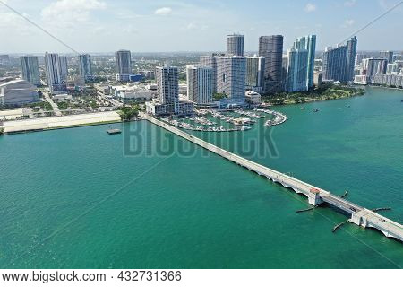Aerial View Of Venetian Causeway, North Biscayne Bay And Skyline Of City Of Miami, Florida On Clear