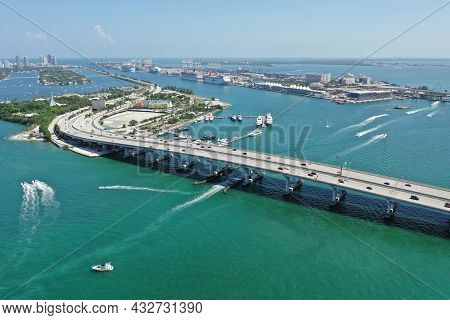 Aerial View Of Macarthur Causway, Watson Island And Miami Beach, Florida On Clear Sunny Summer After