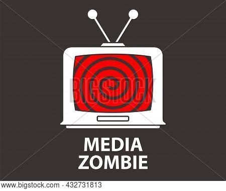 Hypnosis On An Old Tv. Bad Propaganda. Flat Vector Illustration.