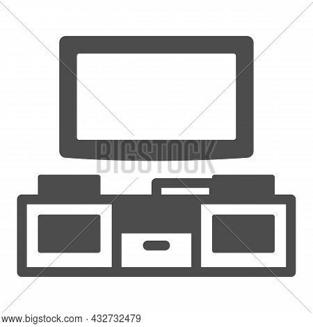 Tv And Tv Stand Solid Icon, Interior Design Concept, Television Unit Cabinet Vector Sign On White Ba