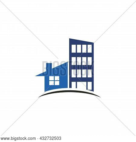 Abstract Apartment Building Residence Logo Icon Flat Vector Concept Graphic Simple Stylish Design