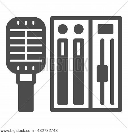 Microphone And Sound Controller Solid Icon, Music Concept, Mic And Audio Mixer Vector Sign On White