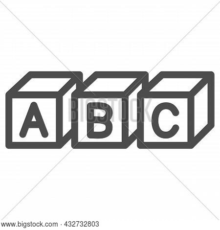 Abc Cubes Alphabet Line Icon, Linguistics Concept, Toy Cubes With Letters Vector Sign On White Backg