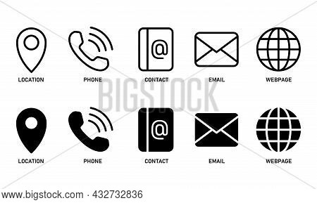 Essential Icons Set For Business Card. Glyph And Line Icon Element For  Business Card Design Templat