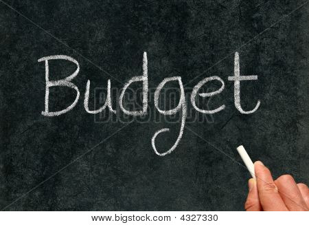 Budget, Written With White Chalk On A Blackboard.