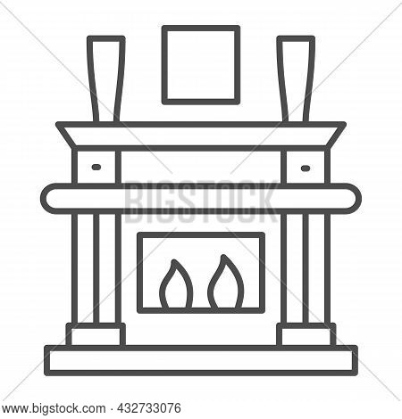 Fireplace, Fireside In Living Room Thin Line Icon, Interior Design Concept, Chimney Vector Sign On W