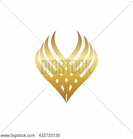 Abstract Luxury Wing Letter V Logo Icon Flat Vector Concept Graphic Simple Stylish Design