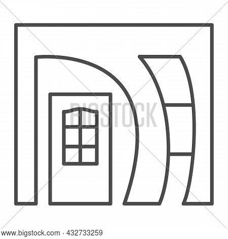Arched Doorway Entrance Thin Line Icon, Interior Design Concept, Arch Doorway Front Door Vector Sign