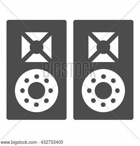 Monitor Speakers, Studio Acoustic System Solid Icon, Sound Design Concept, Audio Set Vector Sign On