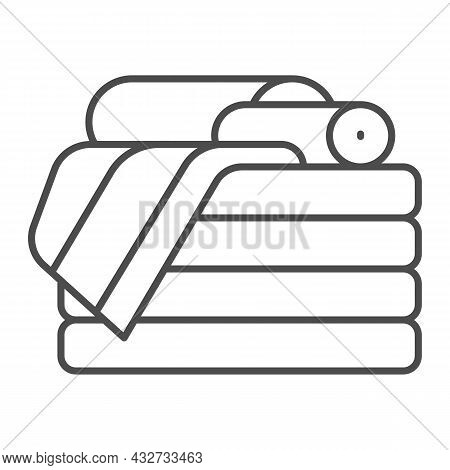 Stack Of Towels Thin Line Icon, Interior Design Concept, Stack Of Folded Towels Vector Sign On White