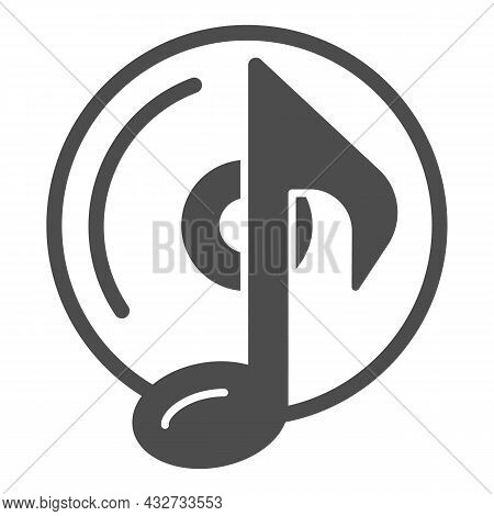 Cd With Musical Note Solid Icon, Sound Design Concept, Musical Note On Disk Vector Sign On White Bac