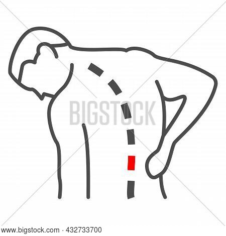 Lower Back Hurts Thin Line Icon, Body Pain Concept, Spinal Pain Vector Sign On White Background, Out