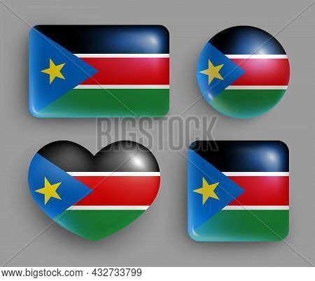 Glossy Buttons With South Sudan Country Flag Set. African Republic National Flag, Shiny Geometric Sh