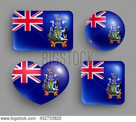 South Georgia Country Flag Glossy Button Icon Set. American Island State National Flag, Shiny Geomet