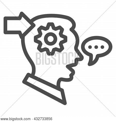 Man With Gear In Head, Arrow, Speech Bubble Line Icon, Thought Concept, Interpreter Vector Sign On W