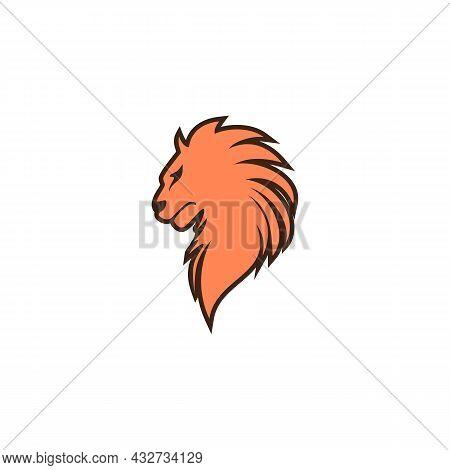 Lion Head Stylish Logo Icon Flat Vector Concept Graphic Simple Stylish Design