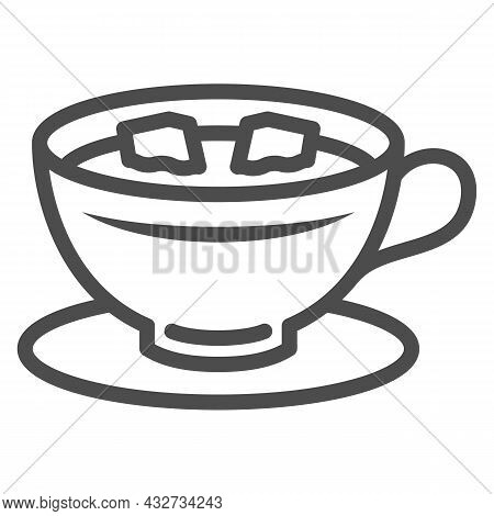 Cup Of Coffee With Lumps Of Sugar On Saucer Line Icon, Hot Beverages Concept, Mug Vector Sign On Whi