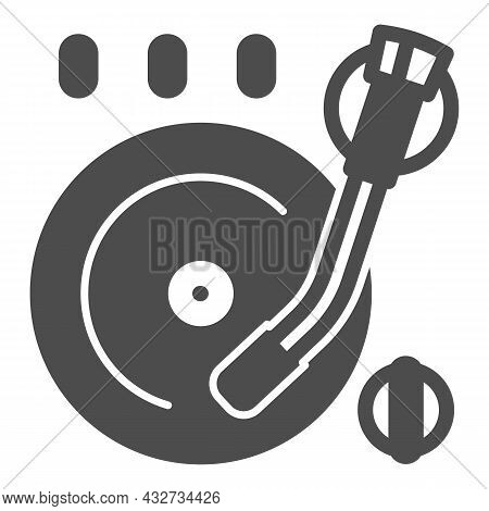 Vinyl Plate On Record Player Solid Icon, Sound Design Concept, Record On Turntable Vector Sign On Wh