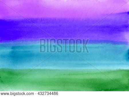 Watercolor Paint Abstract Multicolored Gradient Background. Green, Blue, Violet And Purple Gradient