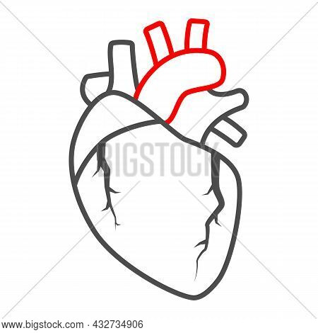 Heart Valve Problem Thin Line Icon, Body Pain Concept, Heart Valves Disease Vector Sign On White Bac