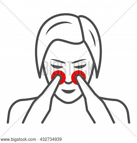 Woman Nose Disturbs Thin Line Icon, Body Pain Concept, Person Has Nasal Pain Vector Sign On White Ba