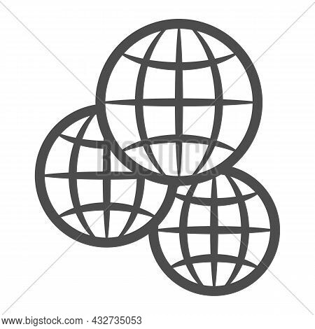 Three Globes, Multicultural, Worldwide Line Icon, International Concept, Exchange Vector Sign On Whi