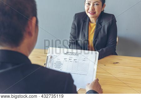 Job Interview Hr Human Resource Manager Interviewing New Employee Candidate Look At Cv Resume Asking