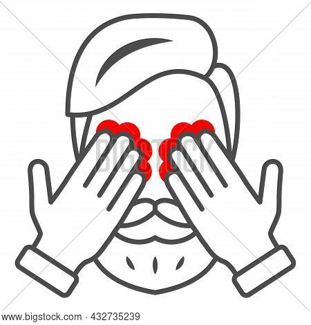 Man Eyes Hurt And Itch Thin Line Icon, Body Pain Concept, Person Has Eye Problems Vector Sign On Whi