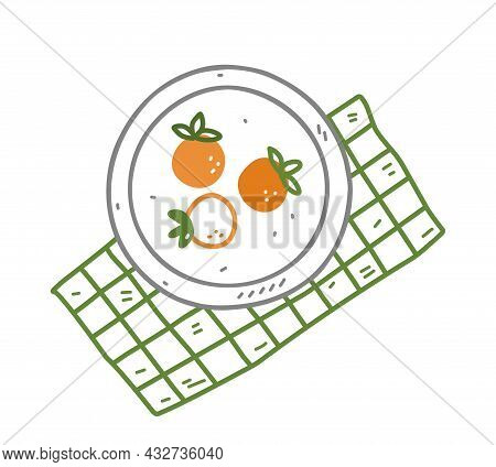 Plate With Persimmon On A Green Checkered Tablecloth In Doodle Style. Hand-drawn Vector Illustration