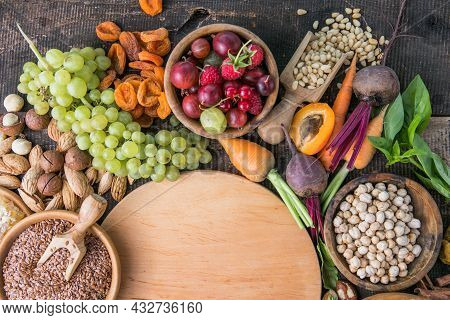 Natural Ingredients Or Products As Source Vitamin E, B2, K, Minerals And Dietary Fiber, Healthy Nutr