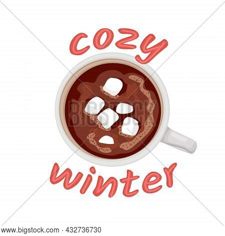 Hot Chocolate Mug With Marshmallows. Isolated White Cup On White Background. Cacao With Zephyr.