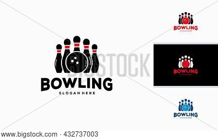 Bowling Logo Designs Concept Vector Illustration, Bowling Club